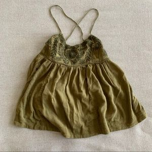 Free People Blackbird olive green embroidered tank